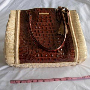 BRAHMIN Leather Crocodile Brown & Beige Bag